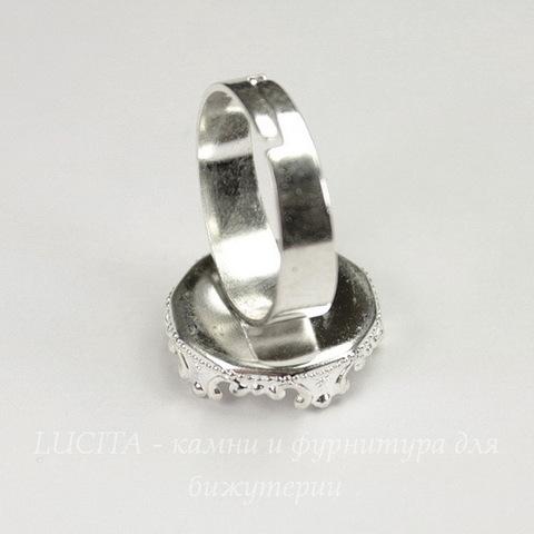 Основа для кольца с сеттингом с филигранным краем для кабошона 15 мм (цвет - серебро)