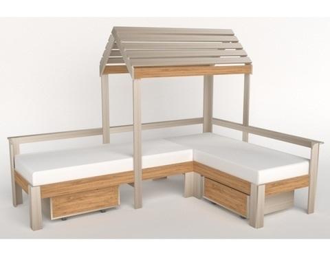 Кровать-домик АВАРА-3 с крышей и ящиками левая