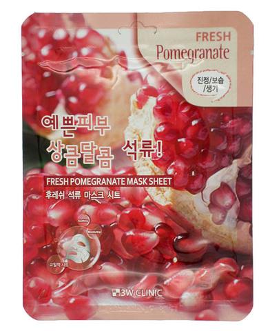 370068 3W CLINIC Тканевая маска для лица с экстрактом граната Fresh Pomegranate