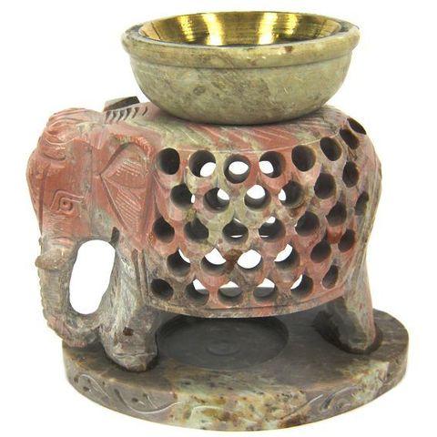 Аромалампа Elephant камень c бронзовой чашей, 11 см