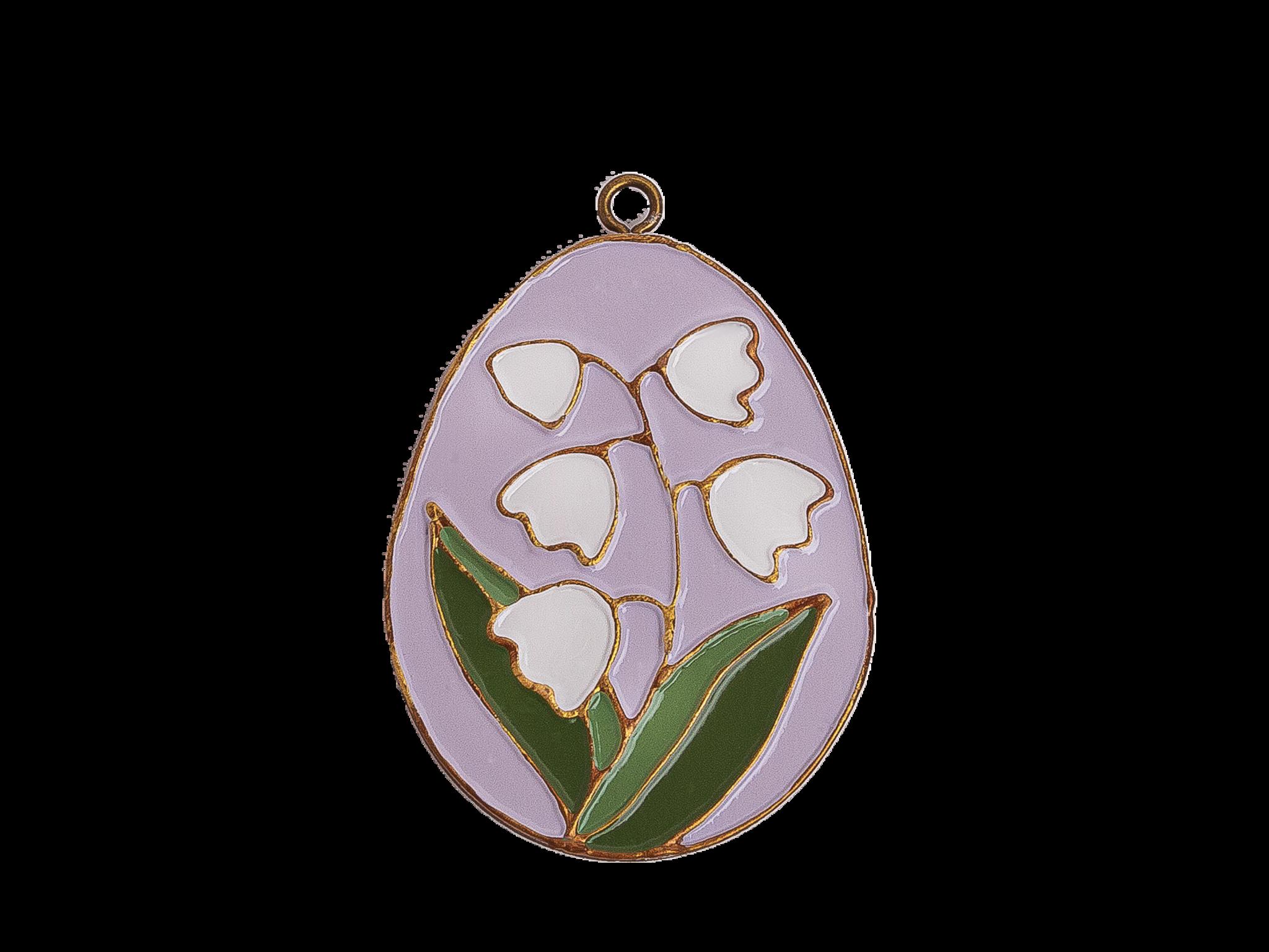 Пасхальное украшение Яйцо с Ландышем, цвет: светло-лиловый
