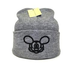 Вязаная шапка с вышивкой Микки Маус (Mickey Mouse) серая