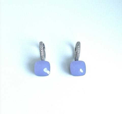 33302 - Серьги Caramel из серебра с кварцем цвета лаванда