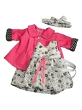 Комплект: Пальто вельвет и платье баллон - Цикламеновый. Одежда для кукол, пупсов и мягких игрушек.