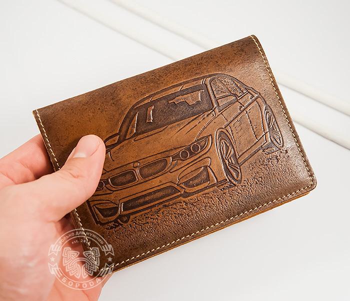 BY04-10-01 Прикольная кожаная обложка для документов водителя BMW, тиснение фото 02