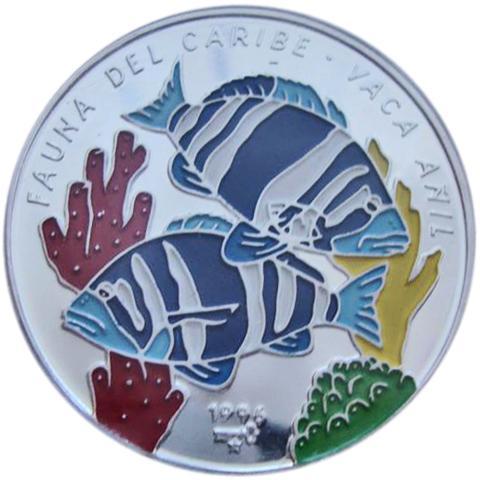 10 песо. Рыба Vaca Anil. Куба. Серебро. 1996 год