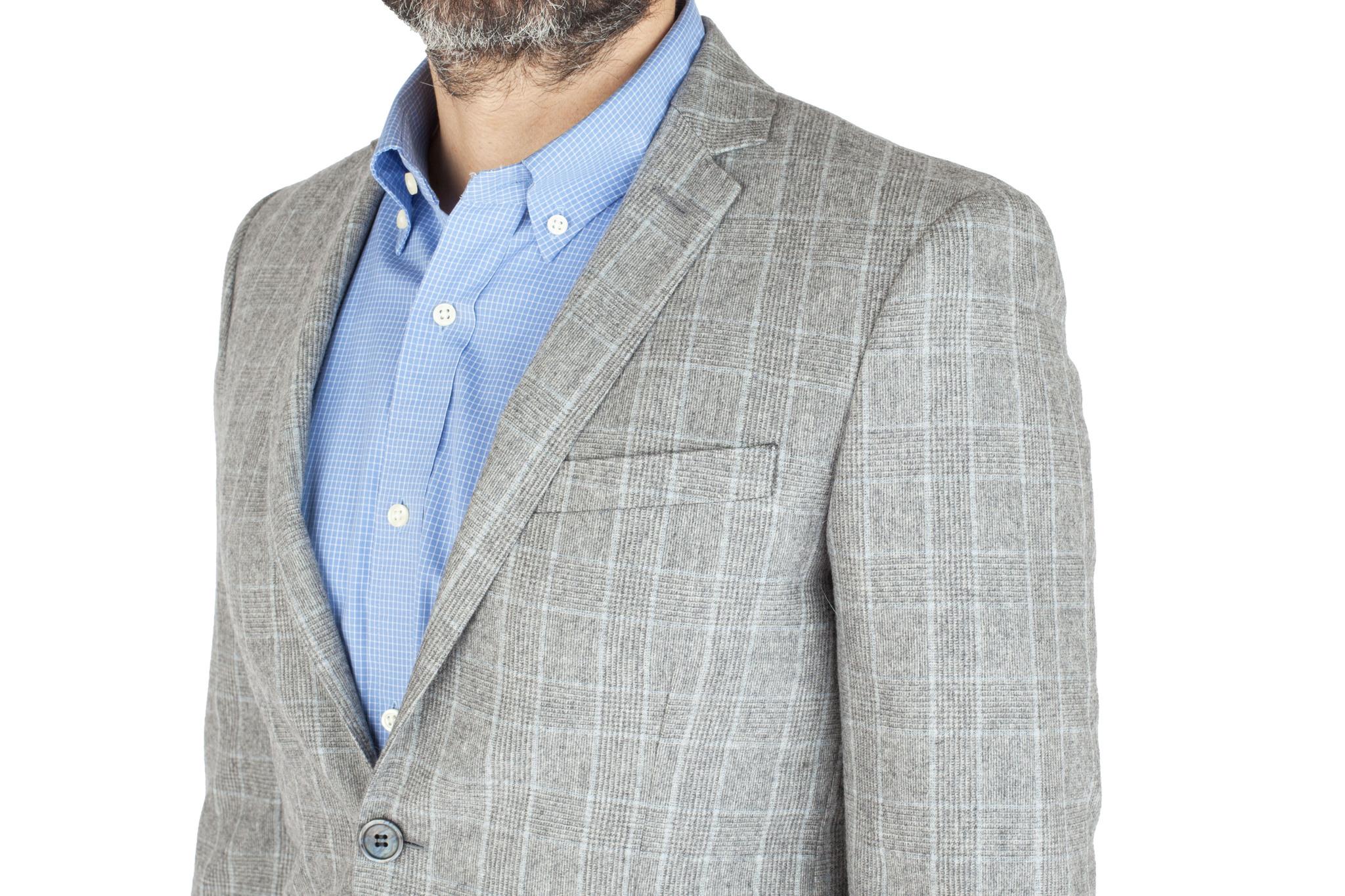 Светло-серый костюм в клетку «Принц Уэльский» из 100%-ной шерсти, нагрудный карман