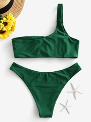 купальник раздельный зеленый на одно плечо 2