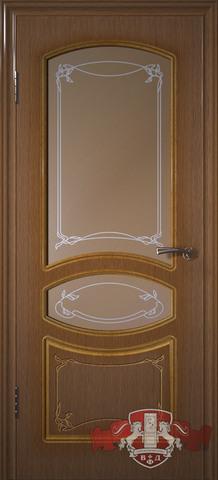 Дверь 13ДР3 (орех, остекленная шпонированная), фабрика Владимирская фабрика дверей