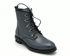 Синие кожаные ботинки на шнуровке