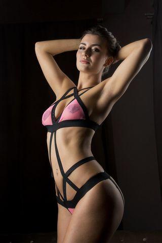 Эластичное боди  Розовая кокетка  с полупрозрачным лифом