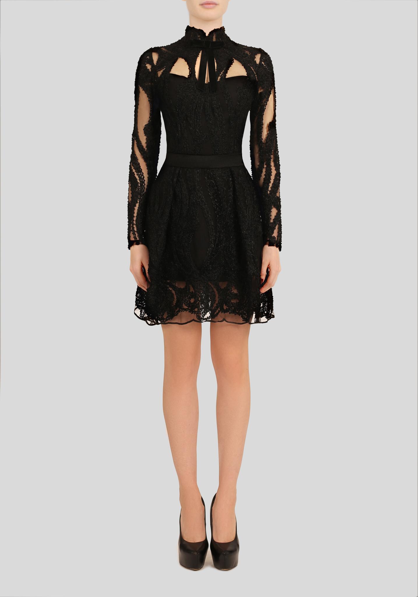 Платье черное кружевное