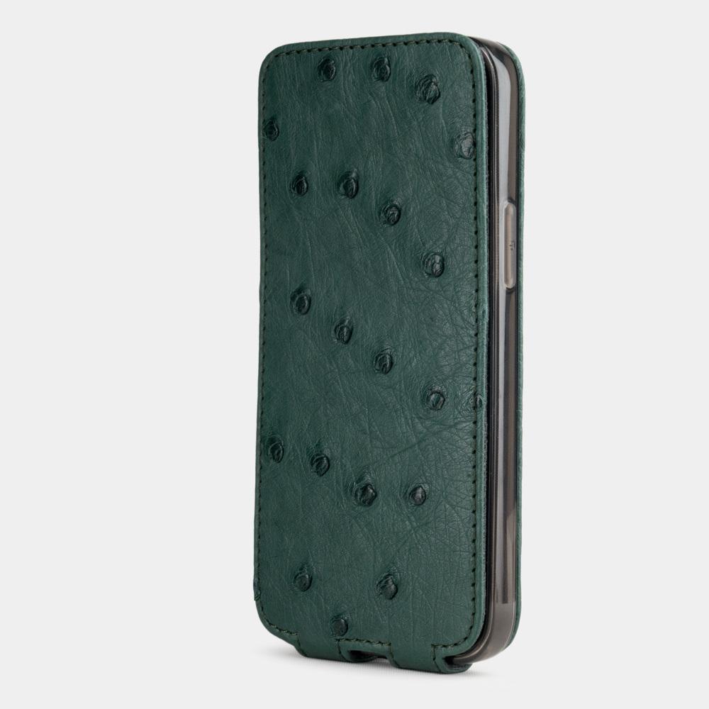 Чехол для iPhone 12 Mini из натуральной кожи страуса, зеленого цвета