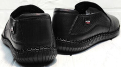 Чёрные мокасины туфли мужские лето кэжуал обувь Ridge Z-291-80 All Black.