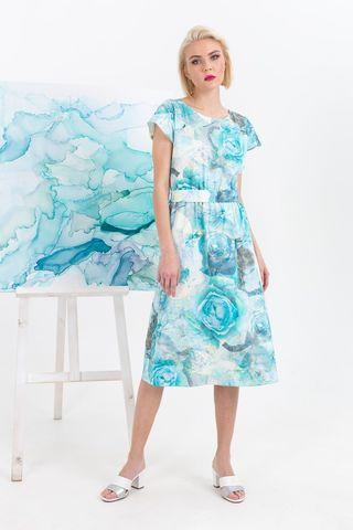 Фото голубое приталенное платье с цветочным принтом и рукавом крылышко - Платье З350-591 (1)