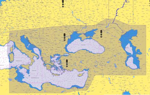 Карта C-MAP  Восточная часть Средиземного моря, Чёрное и Каспийское моря