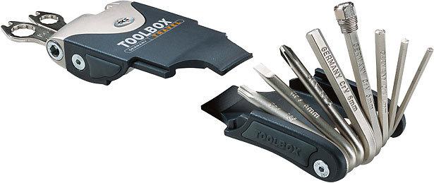 Набор инструмета SKS Toolbox Travel 18функций, эргономичный корпус, шестигранники, монтажки, отвертки, выжимка цепи, спицные и накидные ключи, сумочка в комплекте