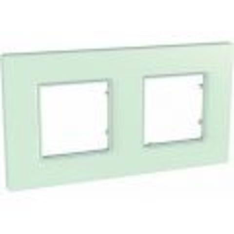 Рамка на 2 поста. Цвет Матовое стекло. Schneider Electric Unica Quadro. MGU2.704.17