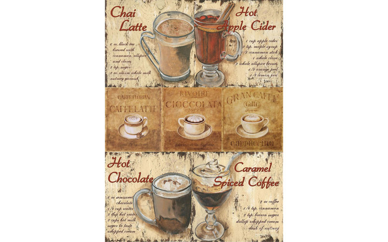 Рисовая бумага для декупажа Кофейня, А3