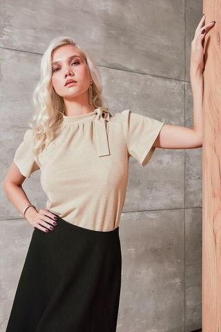 Фото блуза пастельного светло-бежевого оттенка прямого силуэта - Блуза Г693-241 (1)
