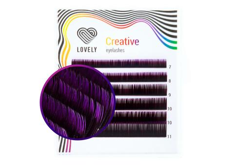 Ресницы двухтоновые темно-фиолетовые Lovely MINI - 6 линий - MIX
