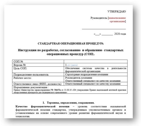 СОПы для аптек_Инструкция Разработка СОП для аптек