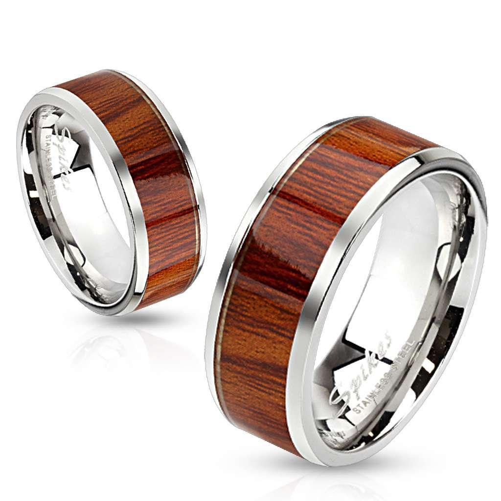 Кольцо из стали для женщин и мужчин со вставкой под дерево SPIKES R-S1001