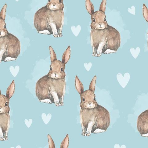 Акварельные кролики на голубом фоне
