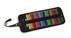 Набор художественных цветных карандашей POLYCOLOR 36 цветовс металлической точилкой и ластиком в черного цвета текстильном пенале-рулоне на кнопке