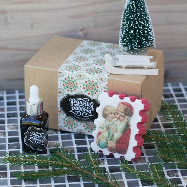 Этиклейка на упаковку для мыла Старинное Рождество