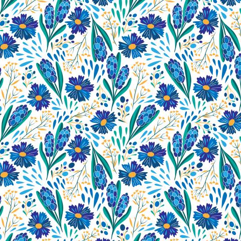 Васильки и гиацинты. Сине-голубые цветы. Лето