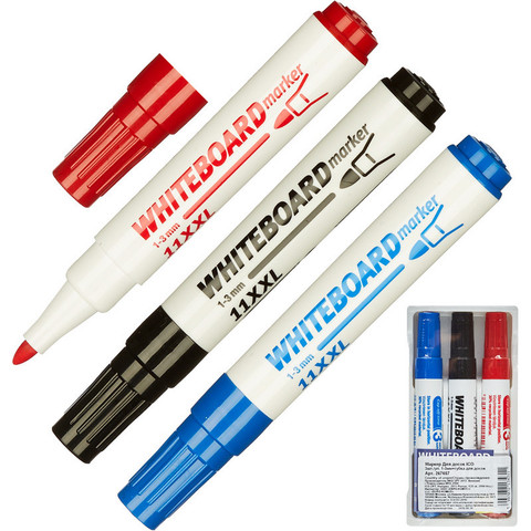 Набор маркеров для досок ICO + губка, 1-3 мм, 3 шт.