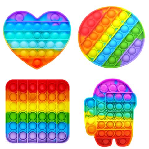 Пупырка вечная антистресс pop it (поп ит) - набор 4 шт микс (квадрат, круг, сердце, амонг ас)