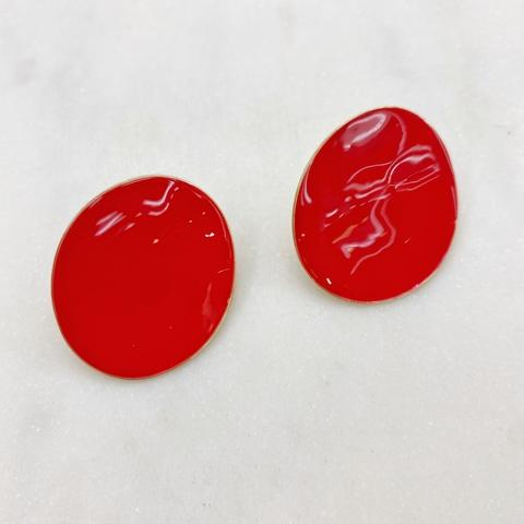 Серьги Овалы эмаль ш925 (красный)
