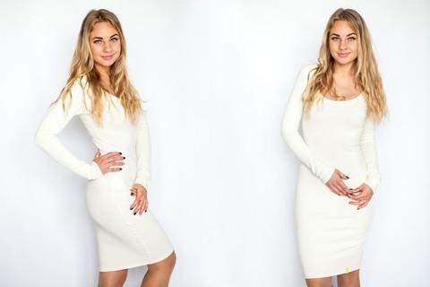 Платье с округлым вырезом молочное