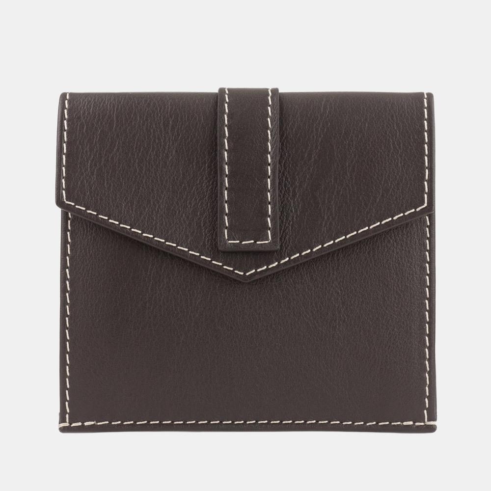 Картхолдер-кошелек Perle Easy из натуральной кожи теленка, темно-коричневого цвета