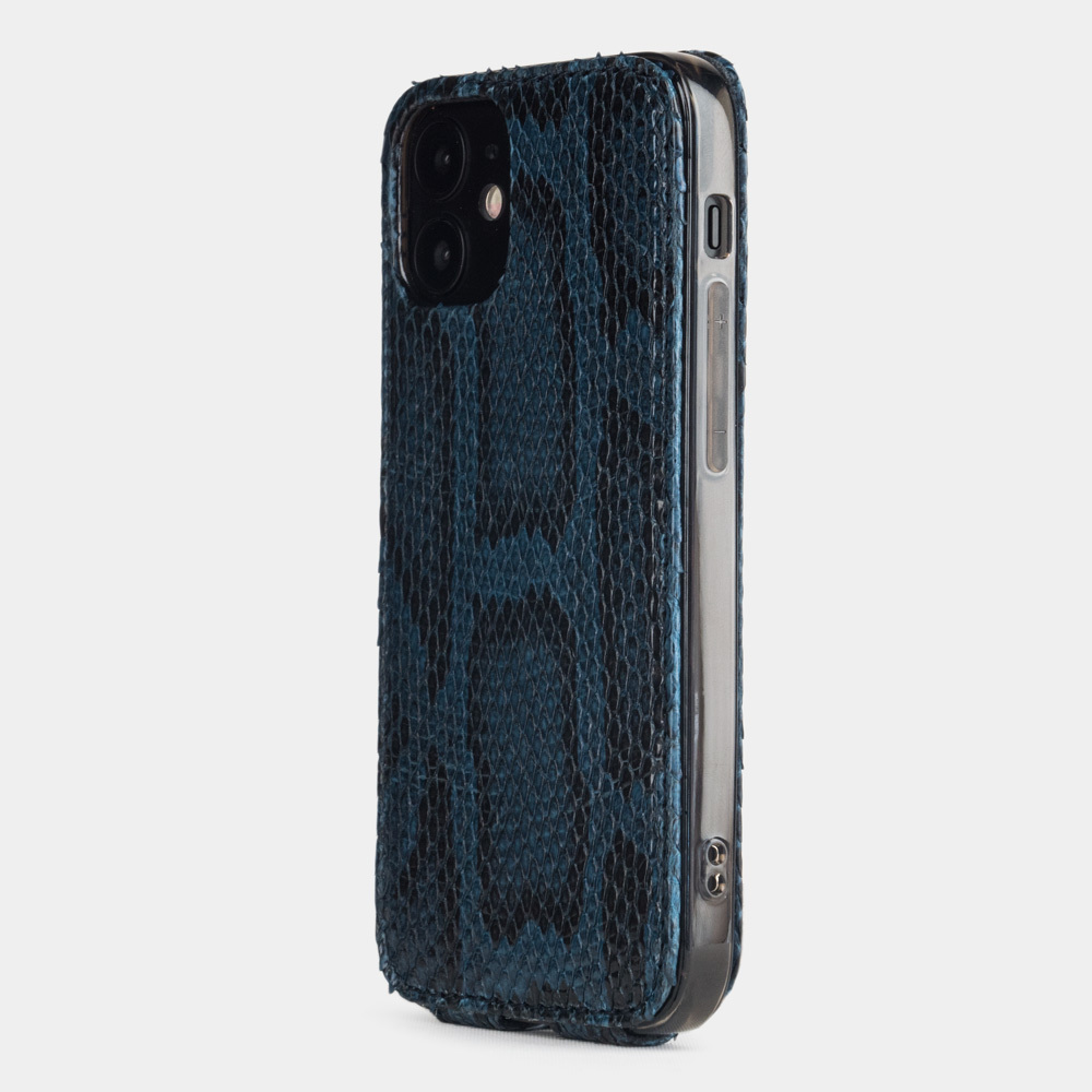 Чехол для iPhone 12 Mini из натуральной кожи питона, синего цвета