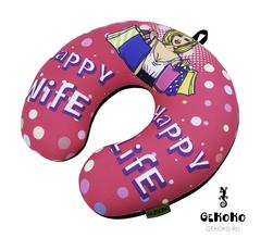 Подушка-подголовник Gekoko «Happy Wife», розовая 2