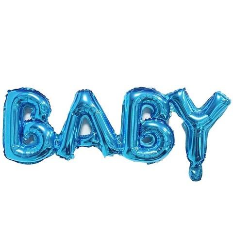 Фольгированная надпись BABY голубая