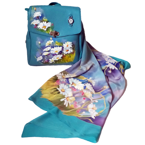 Комплект: Платок и сумка Ромашки