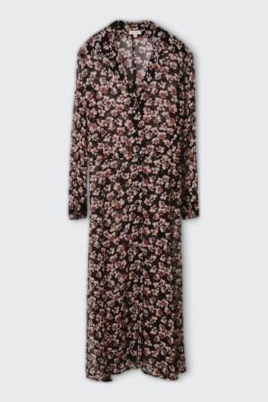 Платье-рубашка из шифона с цветочным рисунком