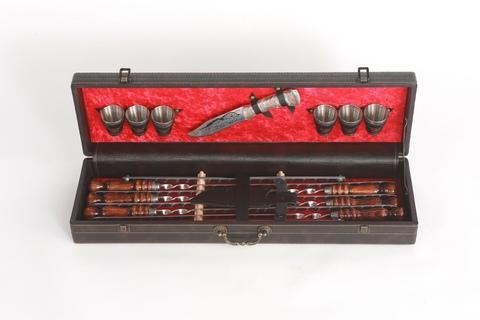 Кизлярский набор шампуров в коробке кожзам №3