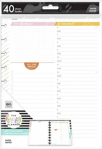 Дополнительный блок листов для ежедневника  -By The Hour Classic Filler Paper