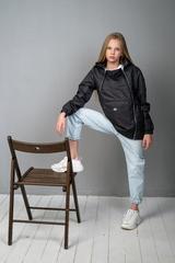 Ветровка-анорак для девочки темно-серый