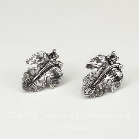 """Пуссеты - гвоздики """"Листики"""" 17х13 мм (цвет - античное серебро)(без заглушек)"""