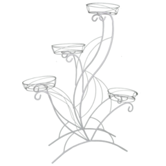 "Подставка для цветов «ЛОТОС 4» (белое серебро ""Антик"")"