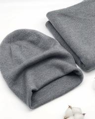 Комплект из шапки и палантина серого цвета (100%) меринос