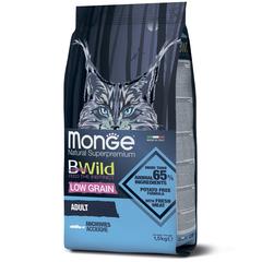 Monge Cat BWild Low Grain Сухой низкозерновой корм для взрослых кошек из анчоуса
