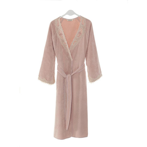 DESTAN  ДЕСТАН  розовый махровый женский халат Soft Cotton (Турция)