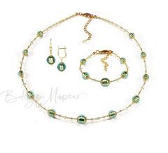 Комплект Примавера изумрудный (серьги на серебре, ожерелье, браслет)